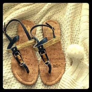Navy Blue and Gold Sandals